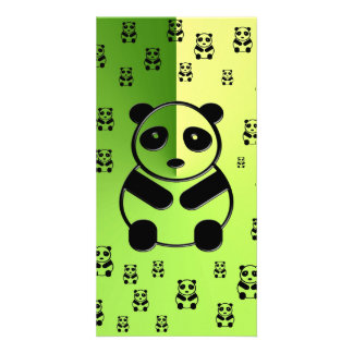 Pandas on green background custom photo card