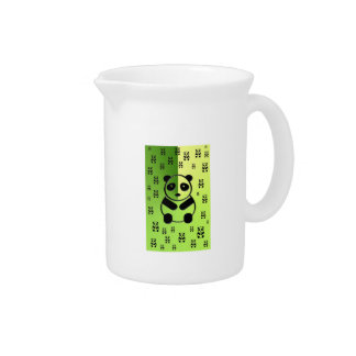 Pandas on green background pitcher