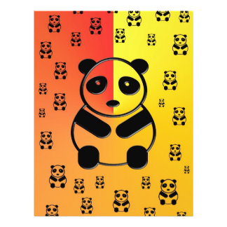 Pandas on yellow orange background flyers