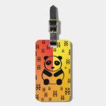 Pandas on yellow orange background tags for luggage