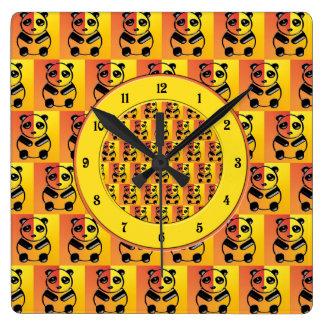 Pandas pattern square wall clocks