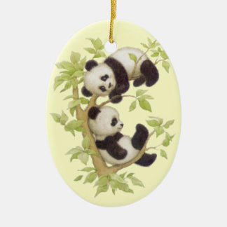 Panda's Playing in a Tree Ceramic Ornament