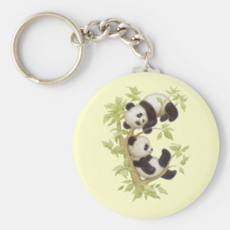 Panda's Playing in a Tree Key Chain