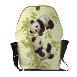 Panda's Playing in a Tree Messenger Bag