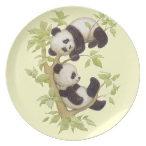 Panda's Playing in a Tree Plate