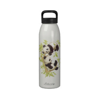 Pandas Playing in a Tree Reusable Water Bottles