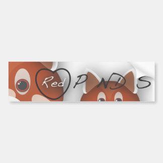 Pandas rojas I <3 Pegatina De Parachoque