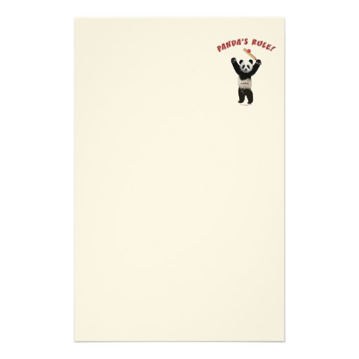 Pandas Rule Cricket Stationery Paper