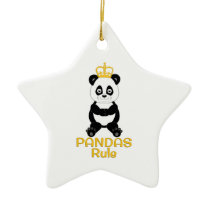 Pandas Rule Golden Crown Ceramic Ornament