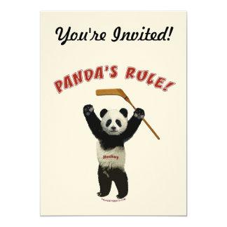 Panda's Rule Hockey Bear 5x7 Paper Invitation Card