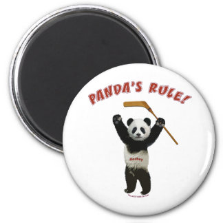 Panda's Rule Hockey Bear Magnets