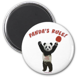 Panda's Rule Ping Pong 2 Inch Round Magnet