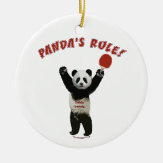 Panda's Rule Ping Pong Christmas Ornaments