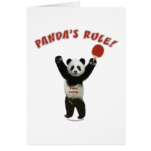 Panda's Rule Ping Pong Stationery Note Card