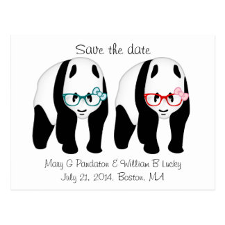 Pandas wearing glasses save the date postcard
