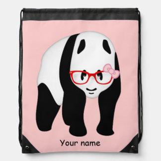 Panda's wearing red glasses drawstring backpack