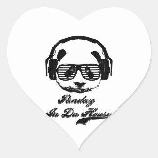 Pandaz In Da House Heart Sticker