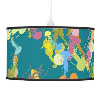 Pandent Lamp - jellyfish & sea horses illustration