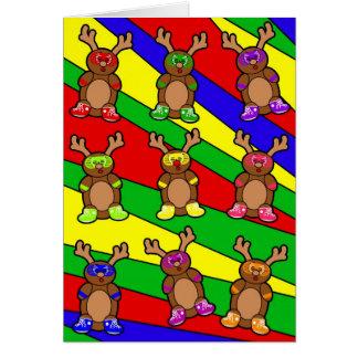 Pandilla retra del reno tarjeta de felicitación