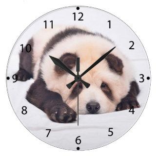 Pandog - cute dog - chow chow large clock