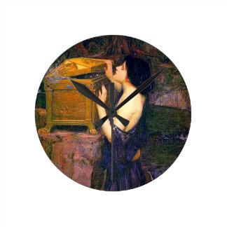 Pandora by John William Waterhouse Round Clock