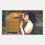 Pandora de John William Waterhouse Pegatina Rectangular