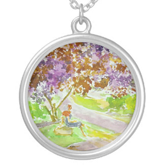 Pandora Series -  Hope and the Lilac Tree - Round Pendant Necklace