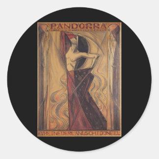 "PANDORRA ""Arturo Van Schendel"" 1919 Pegatina Redonda"