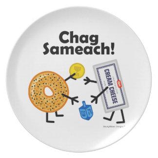 ¡Panecillo y queso cremoso - Chag Sameach! Plato Para Fiesta