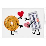 Panecillo y queso cremoso - corazones lindos del tarjeta de felicitación