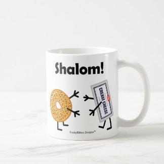 ¡Panecillo y queso cremoso - Shalom! Taza Básica Blanca