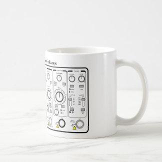 Panel de delante de un probador del voltaje del os taza de café