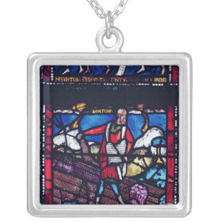 Panel depicting the Parable of the Sower Square Pendant Necklace