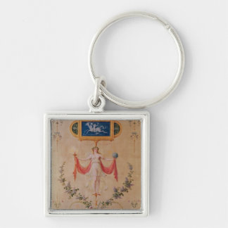 Panel from the boudoir of Marie-Antoinette Silver-Colored Square Keychain