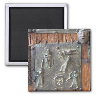 Panel from the left hand door, 12th century (bronz magnet
