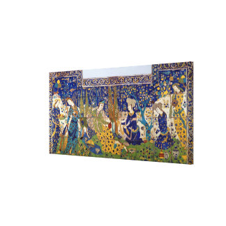 Panel of glazed earthenware tile-work, Isfahan Canvas Print