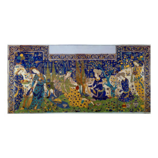 Panel of glazed earthenware tile-work, Isfahan Poster