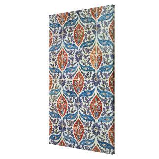 Panel of Isnik earthenware tiles Canvas Print