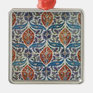 Panel of Isnik earthenware tiles Square Metal Christmas Ornament