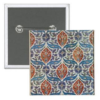 Panel of Isnik earthenware tiles Pinback Button