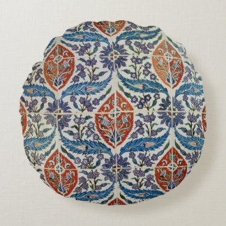 Panel of Isnik earthenware tiles Round Pillow