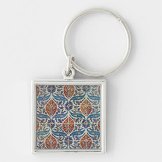 Panel of Isnik earthenware tiles Silver-Colored Square Keychain