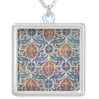 Panel of Isnik earthenware tiles Square Pendant Necklace