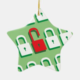 Panel of locks with one lock unlocked Security Ceramic Ornament