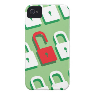 Panel of locks with one lock unlocked Security iPhone 4 Case