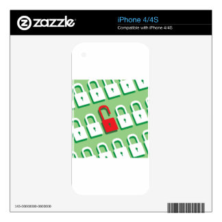 Panel of locks with one lock unlocked Security iPhone 4 Skins