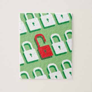 Panel of locks with one lock unlocked Security Jigsaw Puzzle