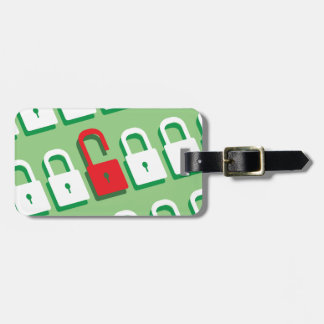 Panel of locks with one lock unlocked Security Luggage Tag