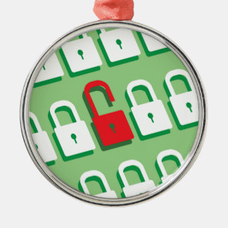 Panel of locks with one lock unlocked Security Metal Ornament