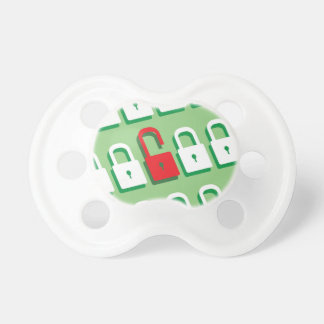 Panel of locks with one lock unlocked Security Pacifier